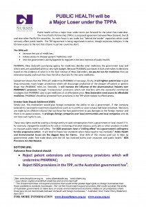 2013-05  Public health  will be a Major Loser Under the TPP FINAL
